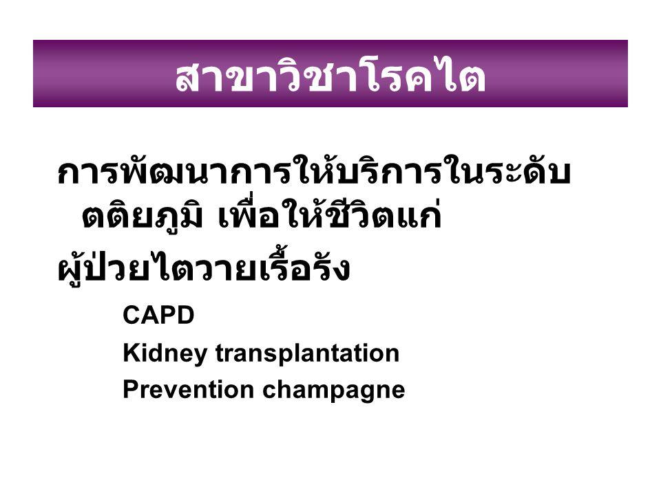 สาขาวิชาโรคไต การพัฒนาการให้บริการในระดับ ตติยภูมิ เพื่อให้ชีวิตแก่ ผู้ป่วยไตวายเรื้อรัง CAPD Kidney transplantation Prevention champagne
