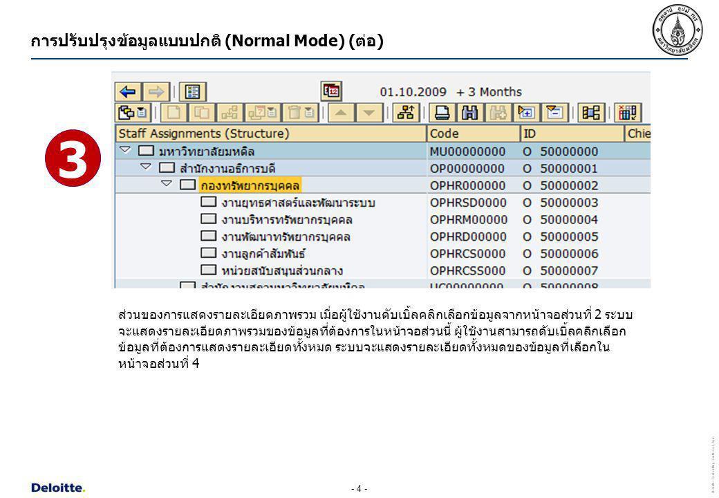 - 5 - Deloitte Consulting Southeast Asia ส่วนของการแสดงรายละเอียดทั้งหมด เมื่อผู้ใช้งานดับเบิ้ลคลิกเลือกข้อมูลจากหน้าจอส่วนที่ 3 ระบบจะแสดง รายละเอียดทั้งหมดของข้อมูลที่ต้องการในหน้าจอส่วนนี้ ผู้ใช้งานสามารถคลิกเลือกแต่ละ Tab เพื่อแสดง รายละเอียดข้อมูลในแต่ละเรื่องได้ เช่น ถ้าต้องการแสดงข้อมูลศูนย์ต้นทุนของหน่วยงาน ให้คลิกเลือก Tab Account assignment เป็นต้น 4 การปรับปรุงข้อมูลแบบปกติ (Normal Mode) (ต่อ)
