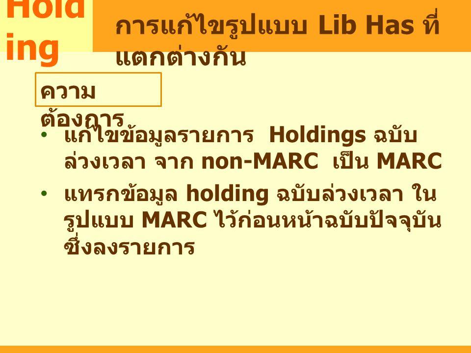 MARC แก้ไขข้อมูลรายการ Holdings ฉบับ ล่วงเวลา จาก non-MARC เป็น MARC แทรกข้อมูล holding ฉบับล่วงเวลา ใน รูปแบบ MARC ไว้ก่อนหน้าฉบับปัจจุบัน ซึ่งลงรายก