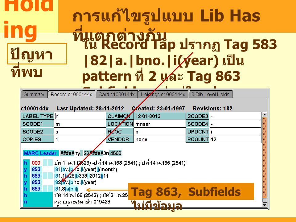 MARC Hold ing การแก้ไขรูปแบบ Lib Has ที่แตกต่างกัน ปัญหา ที่พบ ใน Record Tap ปรากฏ Tag 583 |82|a.|bno.|i(year) เป็น pattern ที่ 2 และ Tag 863 Subfield
