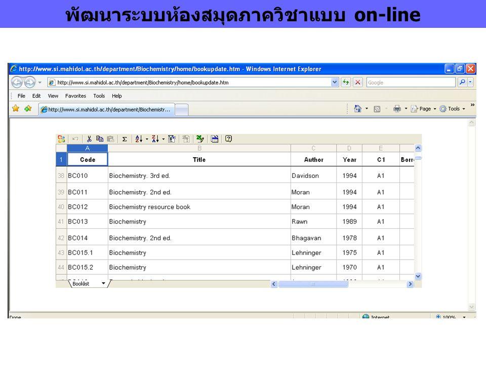 พัฒนาระบบห้องสมุดภาควิชาแบบ on-line