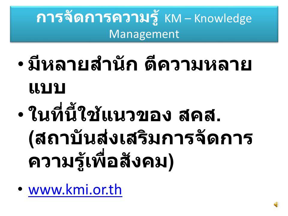 การจัดการความรู้ KM – Knowledge Management มีหลายสำนัก ตีความหลาย แบบ ในที่นี้ใช้แนวของ สคส.