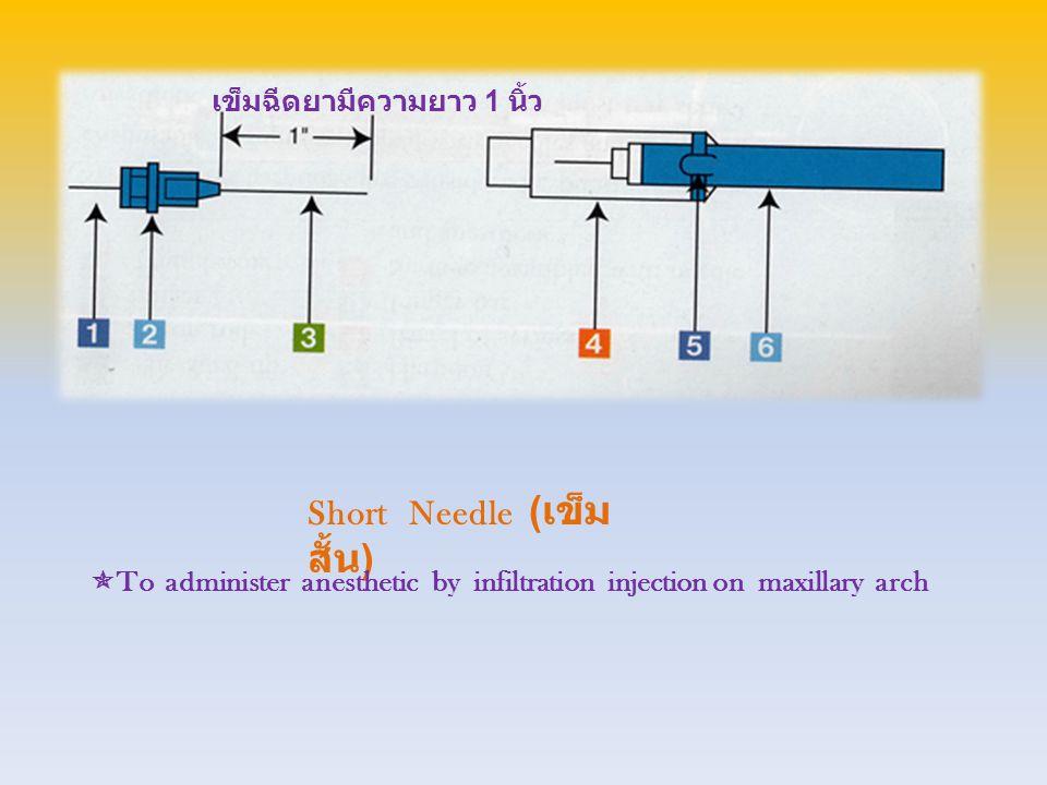 Long Needle ( เข็ม ยาว )  To administer anesthetic by block injection on mandibular arch เข็มฉีดยามีความยาว 1 5/8 นิ้ว