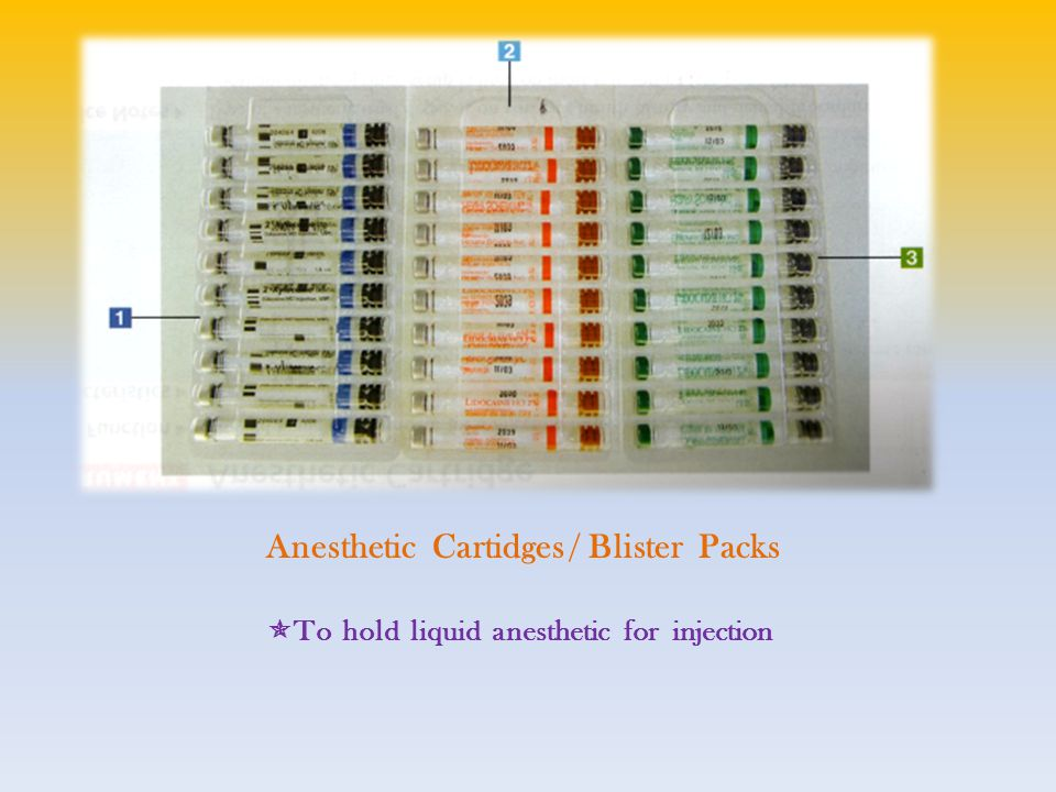 Anesthetic Cartidges / Blister Packs  To hold liquid anesthetic for injection