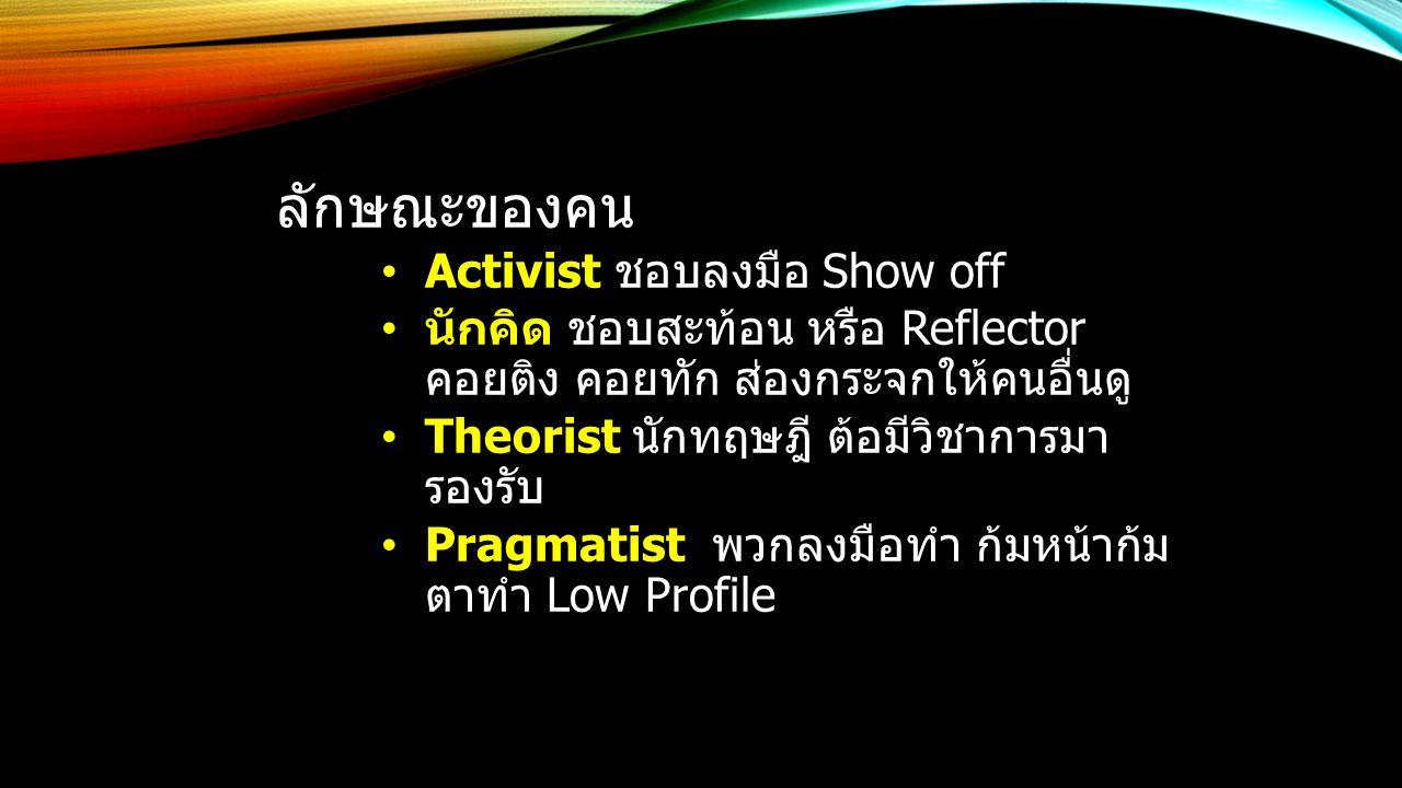 ลักษณะของคน Activist ชอบลงมือ Show off นักคิด ชอบสะท้อน หรือ Reflector คอยติง คอยทัก ส่องกระจกให้คนอื่นดู Theorist นักทฤษฎี ต้อมีวิชาการมา รองรับ Pragmatist พวกลงมือทำ ก้มหน้าก้ม ตาทำ Low Profile