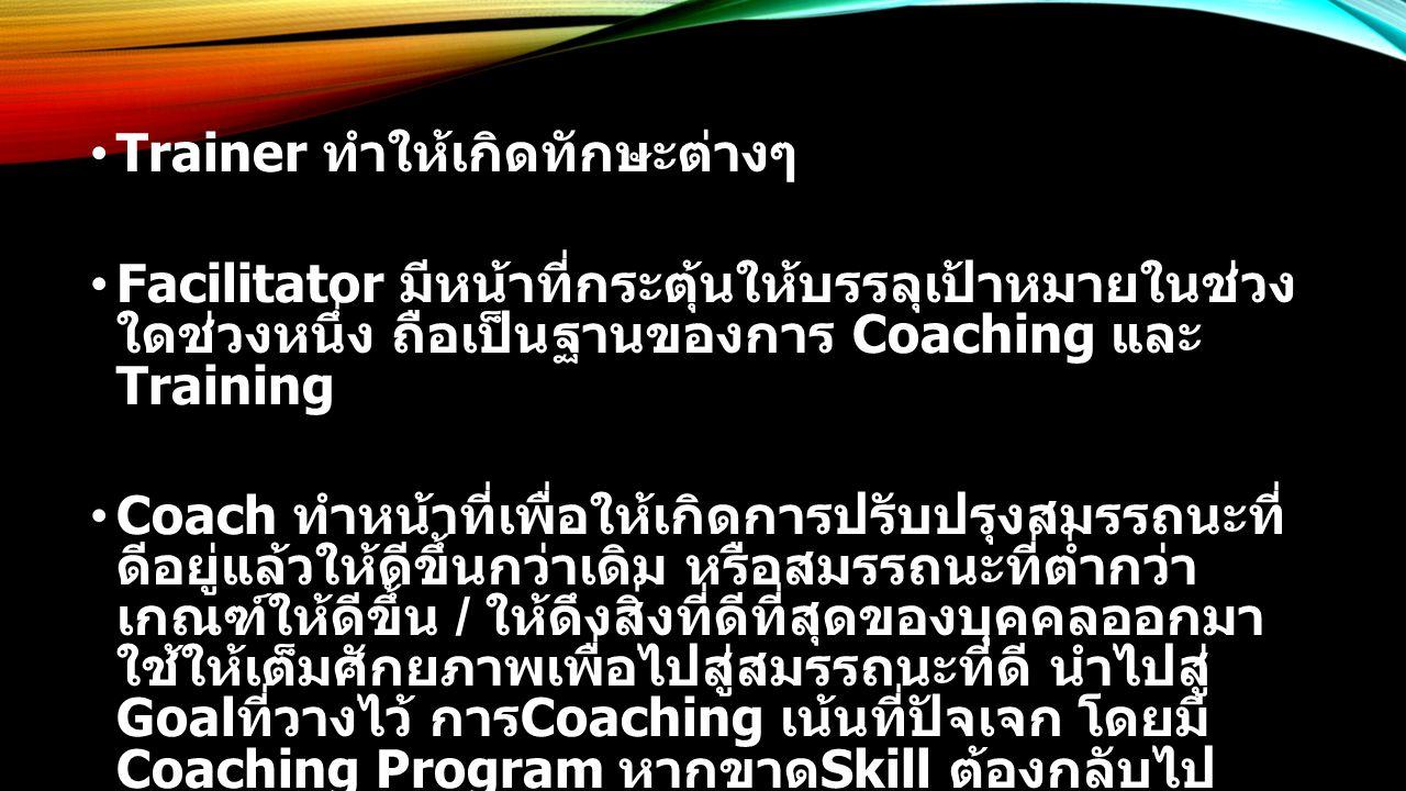 Trainer ทำให้เกิดทักษะต่างๆ Facilitator มีหน้าที่กระตุ้นให้บรรลุเป้าหมายในช่วง ใดช่วงหนึ่ง ถือเป็นฐานของการ Coaching และ Training Coach ทำหน้าที่เพื่อให้เกิดการปรับปรุงสมรรถนะที่ ดีอยู่แล้วให้ดีขึ้นกว่าเดิม หรือสมรรถนะที่ต่ำกว่า เกณฑ์ให้ดีขึ้น / ให้ดึงสิ่งที่ดีที่สุดของบุคคลออกมา ใช้ให้เต็มศักยภาพเพื่อไปสู่สมรรถนะที่ดี นำไปสู่ Goal ที่วางไว้ การ Coaching เน้นที่ปัจเจก โดยมี Coaching Program หากขาด Skill ต้องกลับไป Training ใหม่