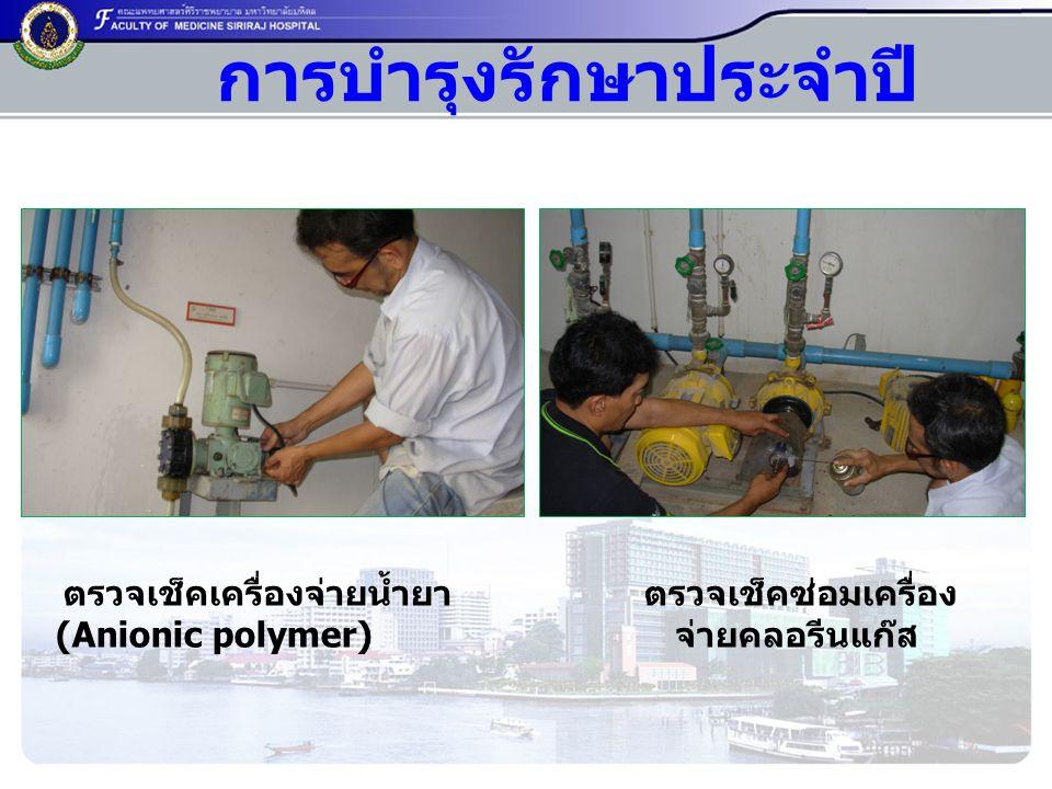 ตรวจเช็คเครื่องจ่ายน้ำยา (Anionic polymer) ตรวจเช็คซ่อมเครื่อง จ่ายคลอรีนแก๊ส การบำรุงรักษาประจำปี