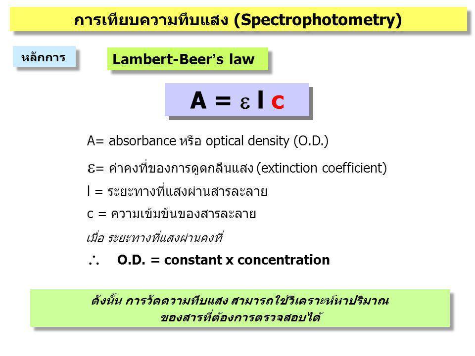 A =  l c A= absorbance หรือ optical density (O.D.)  = ค่าคงที่ของการดูดกลืนแสง (extinction coefficient) l = ระยะทางที่แสงผ่านสารละลาย c = ความเข้มข้