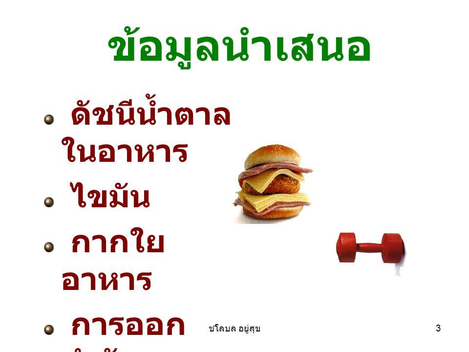 ชโลบล อยู่สุข 4 ดัชนีน้ำตาล ค่าที่บ่งลำดับอาหารตามสภาพที่มีผล ต่อระดับน้ำตาลกลูโคสในเลือดภายใน 2-3 ชั่วโมงหลังทานอาหาร มีสเกล 1- 100 อาหารที่ร่างกายสามารถย่อยและแตก ตัวได้เร็ว ได้แก่กลุ่มที่มีค่าดัชนีน้ำตาล 70 หรือสูงกว่า กลุ่มนี้ทำให้ระดับ น้ำตาลในเลือดสูงขึ้นอย่างรวดเร็ว กลุ่มอาหารที่ถูกย่อยและแตกตัวช้า ที่ ค่อยๆ ปล่อยกลูโคสเข้ากระแสเลือด อย่างช้าๆ กลุ่มนี้มีค่าดัชนีน้ำตาลต่ำ กว่า 55