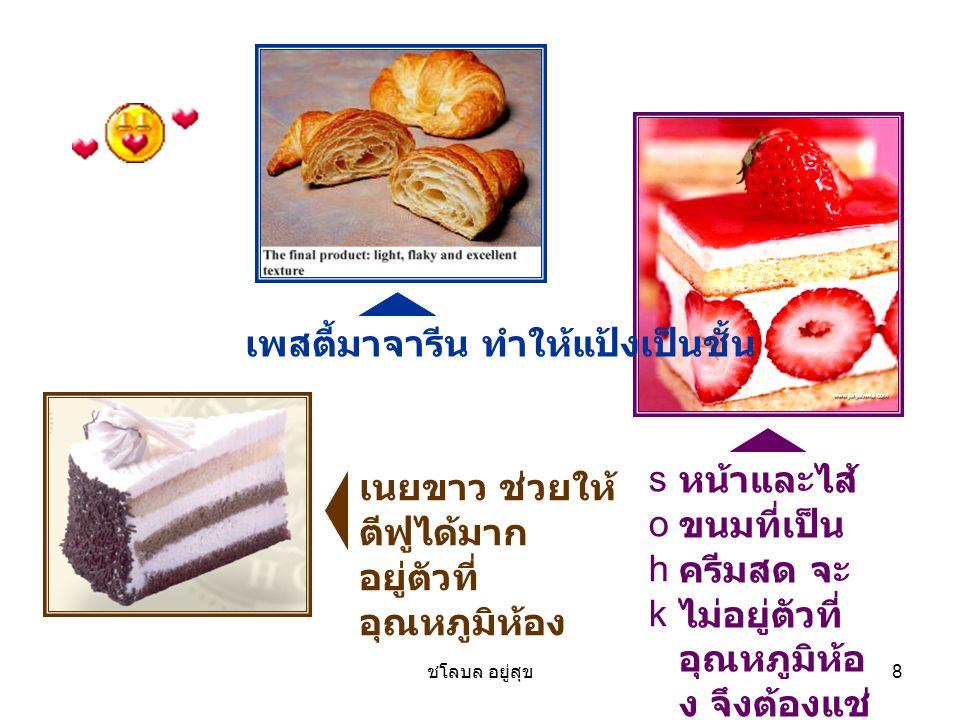 ชโลบล อยู่สุข 8 หน้าและไส้ ขนมที่เป็น ครีมสด จะ ไม่อยู่ตัวที่ อุณหภูมิห้อ ง จึงต้องแช่ เย็น sohk sohk เพสตี้มาจารีน ทำให้แป้งเป็นชั้น เนยขาว ช่วยให้ ต