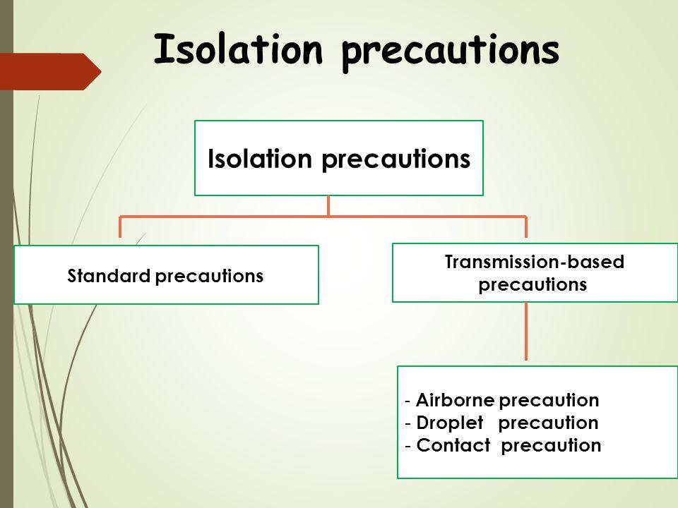Isolation precautions Standard precautions Transmission-based precautions - Airborne precaution - Droplet precaution - Contact precaution
