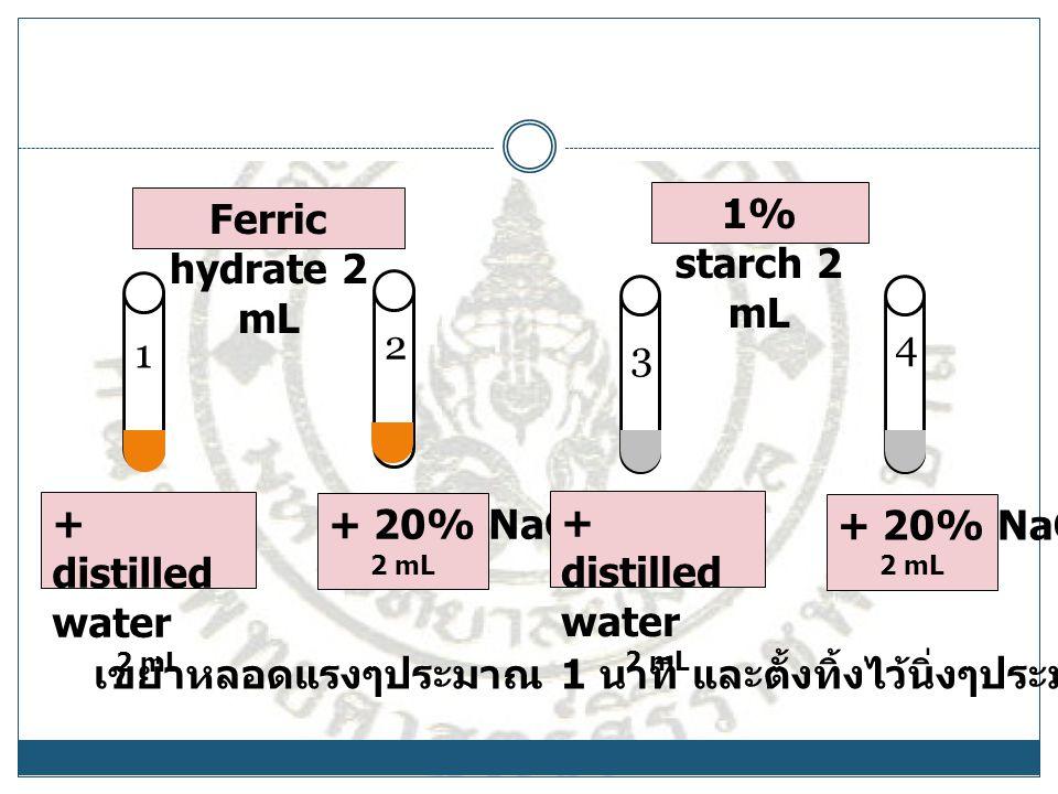 เขย่าหลอดแรงๆประมาณ 1 นาที และตั้งทิ้งไว้นิ่งๆประมาณ 15-20 นาที 1 2 3 4 Ferric hydrate 2 mL 1% starch 2 mL + distilled water 2 mL + 20% NaCl 2 mL + di