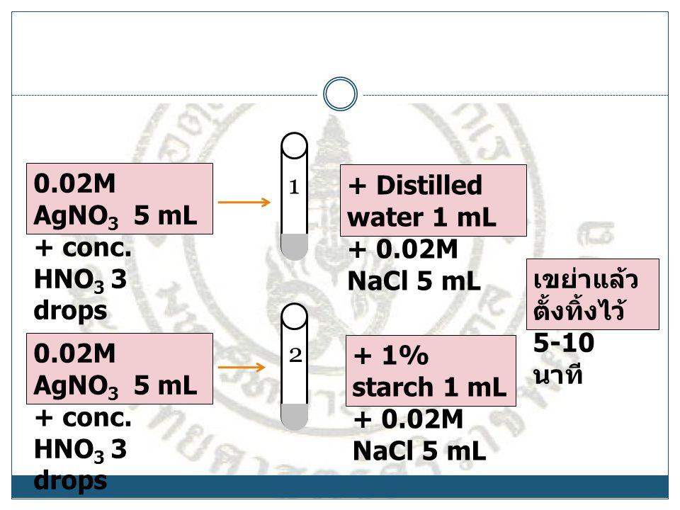 0.02M AgNO 3 5 mL + conc. HNO 3 3 drops + Distilled water 1 mL + 0.02M NaCl 5 mL + 1% starch 1 mL + 0.02M NaCl 5 mL เขย่าแล้ว ตั้งทิ้งไว้ 5-10 นาที 1