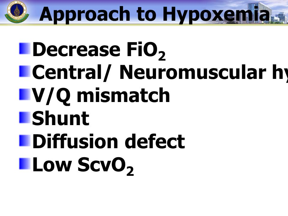 Approach to Hypoxemia Decrease FiO 2 Central/ Neuromuscular hypoventilation V/Q mismatch Shunt Diffusion defect Low ScvO 2