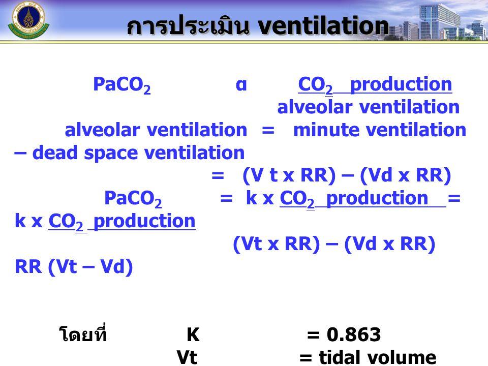 การประเมิน ventilation PaCO 2 α CO 2 production alveolar ventilation alveolar ventilation = minute ventilation – dead space ventilation = (V t x RR) – (Vd x RR) PaCO 2 = k x CO 2 production = k x CO 2 production (Vt x RR) – (Vd x RR) RR (Vt – Vd) โดยที่ K = 0.863 Vt = tidal volume Vd = dead space volume RR = respiratory rate