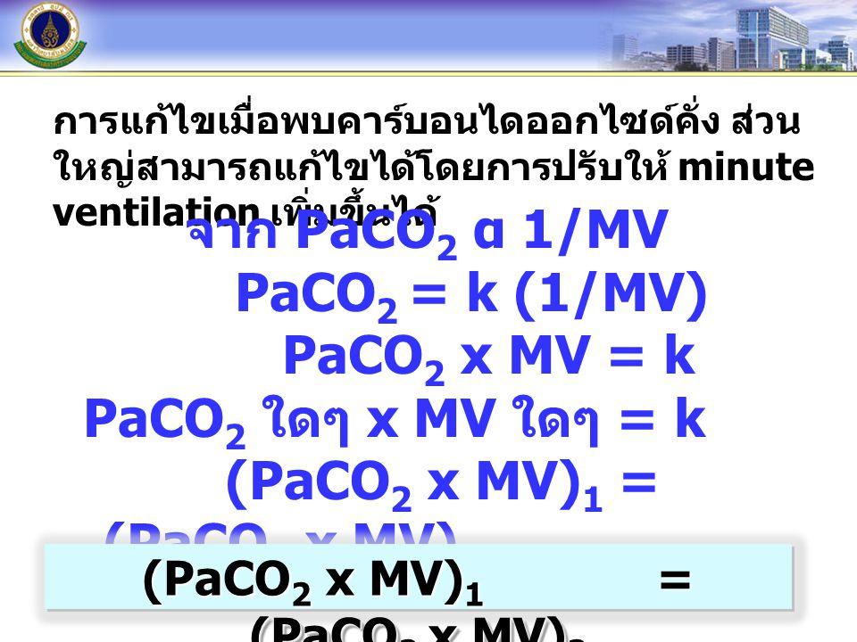 การแก้ไขเมื่อพบคาร์บอนไดออกไซด์คั่ง ส่วน ใหญ่สามารถแก้ไขได้โดยการปรับให้ minute ventilation เพิ่มขึ้นได้ จาก PaCO 2 α 1/MV PaCO 2 = k (1/MV) PaCO 2 x MV = k PaCO 2 ใดๆ x MV ใดๆ = k (PaCO 2 x MV) 1 = (PaCO 2 x MV) 2 (PaCO 2 x MV) 1 = (PaCO 2 x MV) 2