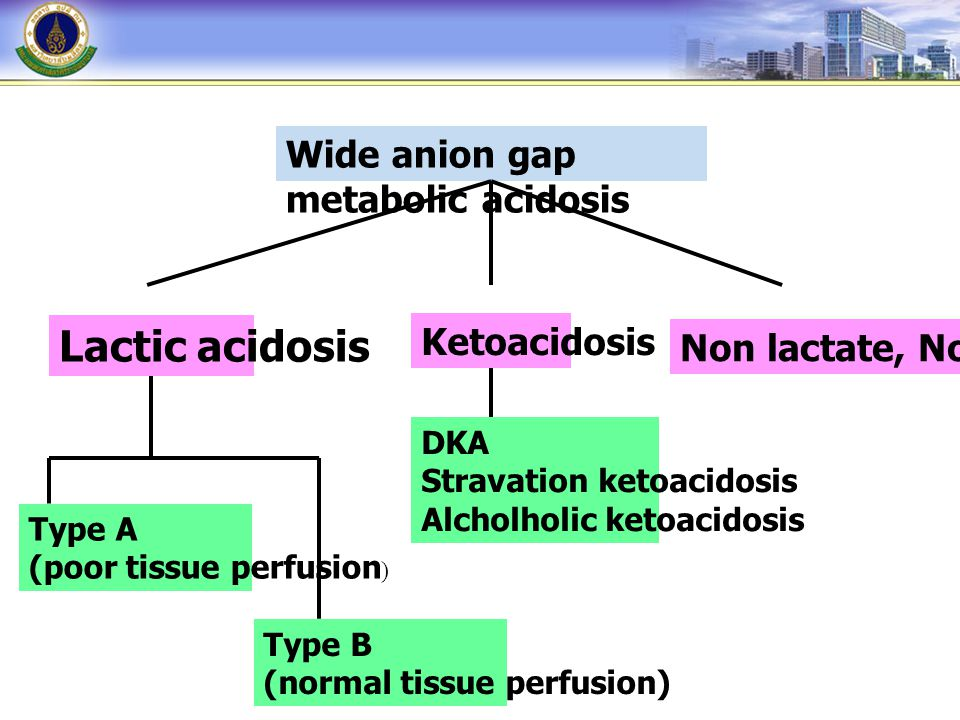 Wide anion gap metabolic acidosis Lactic acidosis Ketoacidosis Non lactate, Non ketone Type A (poor tissue perfusion ) Type B (normal tissue perfusion