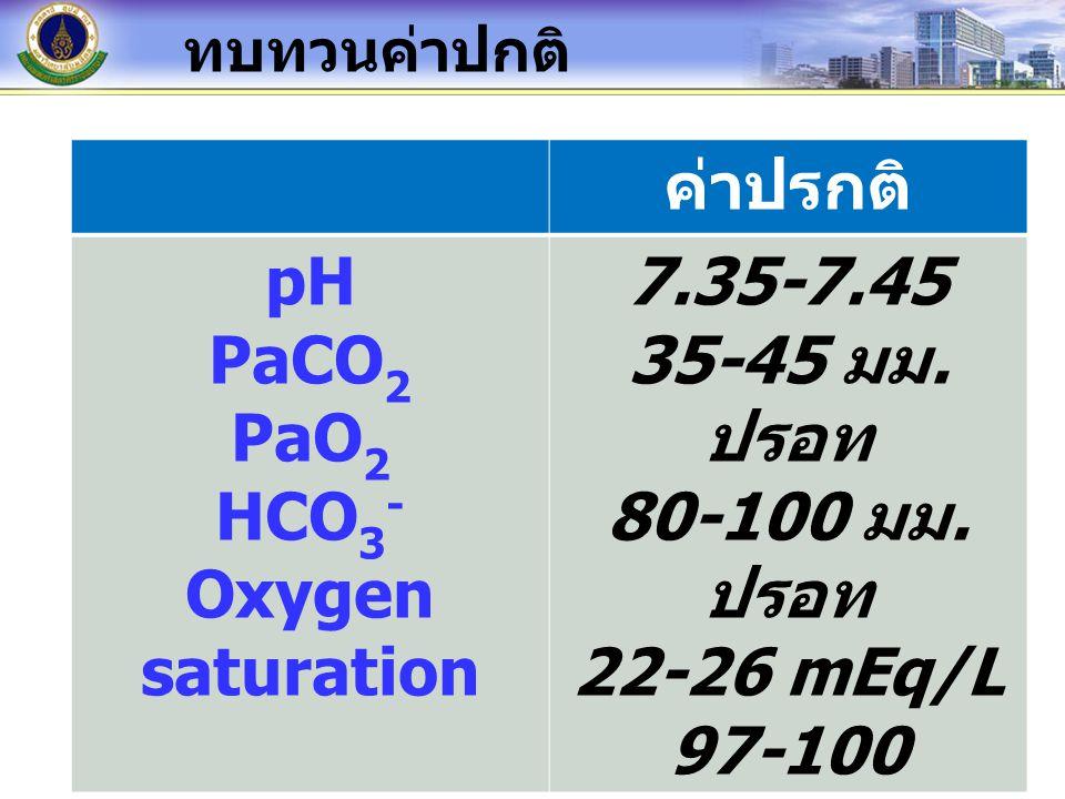 ทบทวนค่าปกติ ค่าปรกติ pH PaCO 2 PaO 2 HCO 3 - Oxygen saturation 7.35-7.45 35-45 มม. ปรอท 80-100 มม. ปรอท 22-26 mEq/L 97-100