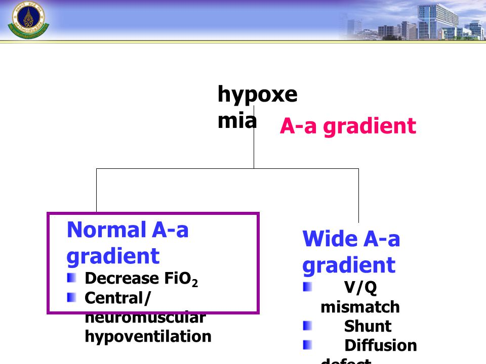 hypoxe mia A-a gradient Normal A-a gradient Decrease FiO 2 Central/ neuromuscular hypoventilation Wide A-a gradient V/Q mismatch Shunt Diffusion defec