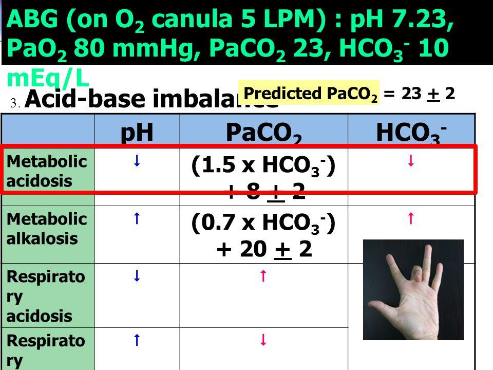ABG (on O 2 canula 5 LPM) : pH 7.23, PaO 2 80 mmHg, PaCO 2 23, HCO 3 - 10 mEq/L 3. Acid-base imbalance pHPaCO 2 HCO 3 - Metabolic acidosis  (1.5 x HC