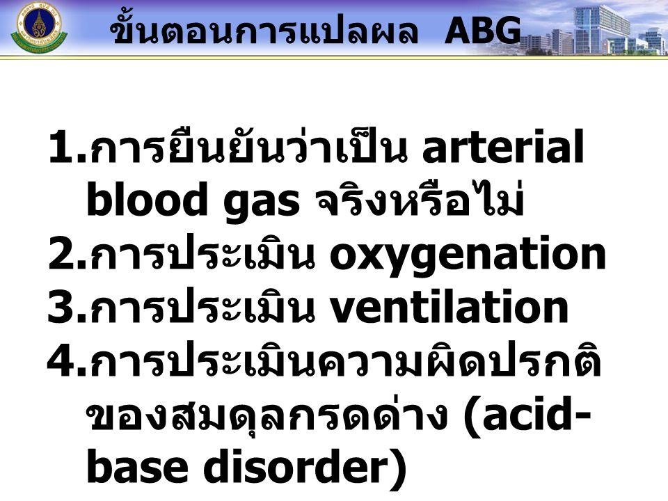 1. การยืนยันว่าเป็น arterial blood gas จริงหรือไม่ 2. การประเมิน oxygenation 3. การประเมิน ventilation 4. การประเมินความผิดปรกติ ของสมดุลกรดด่าง (acid