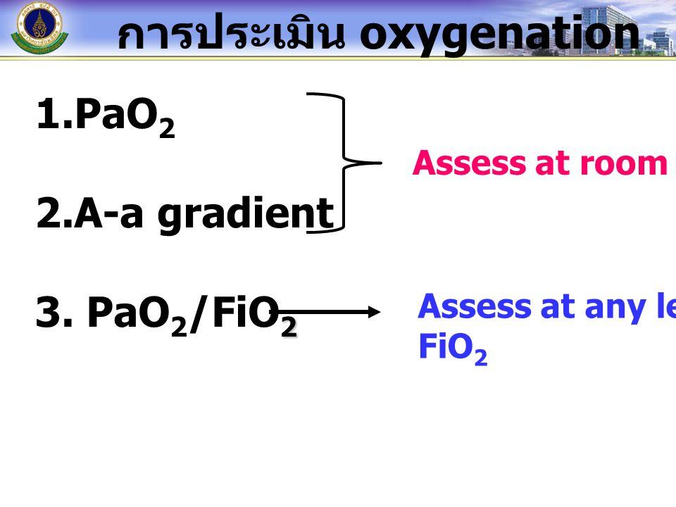 ใช้ได้เฉพาะ room air การประเมิน Oxygenation ความรุนแรง ของ PaO 2 Mild hypoxemia 60-80 มม.