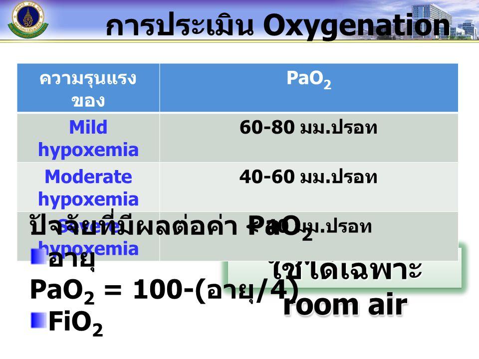 ใช้ได้เฉพาะ room air การประเมิน Oxygenation ความรุนแรง ของ PaO 2 Mild hypoxemia 60-80 มม. ปรอท Moderate hypoxemia 40-60 มม. ปรอท Severe hypoxemia < 40