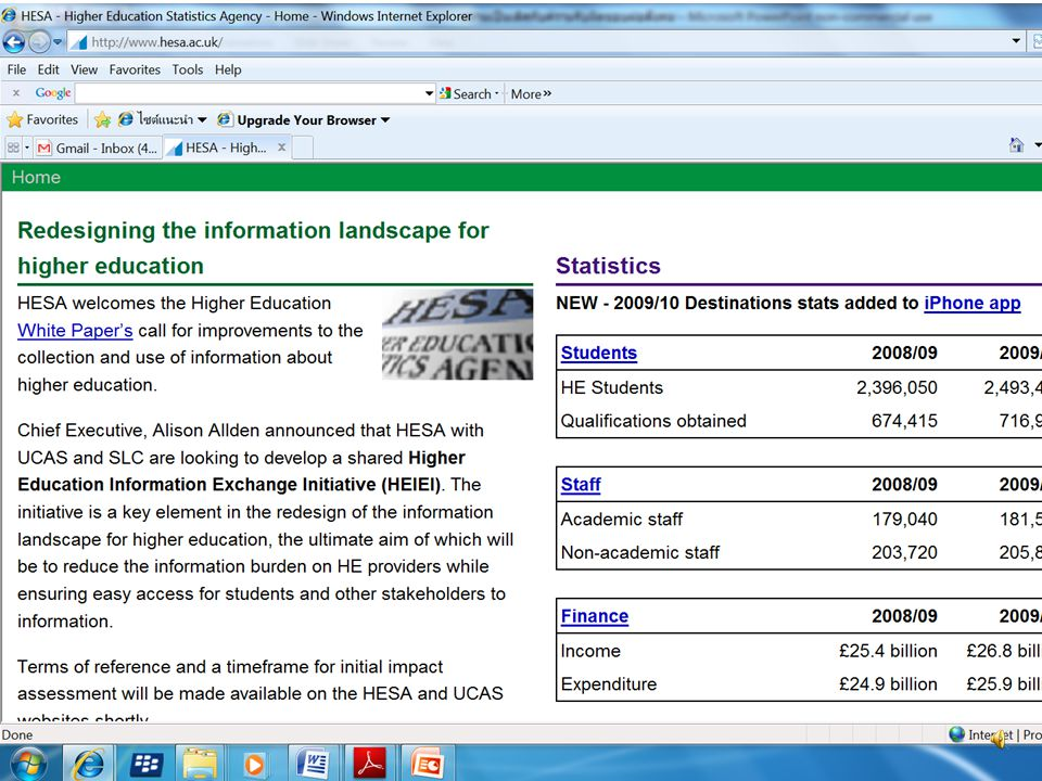 Higher Education Statistics Agency (UK) NPO 75 คน 5 ล้านปอนด์ สมาชิก : มหาฯ ทปอ. หน่วย จัดสรร งปม. ใช้อำนาจทางกฎหมายของหน่วย จัดสรร งปม. สำรวจความต้อง