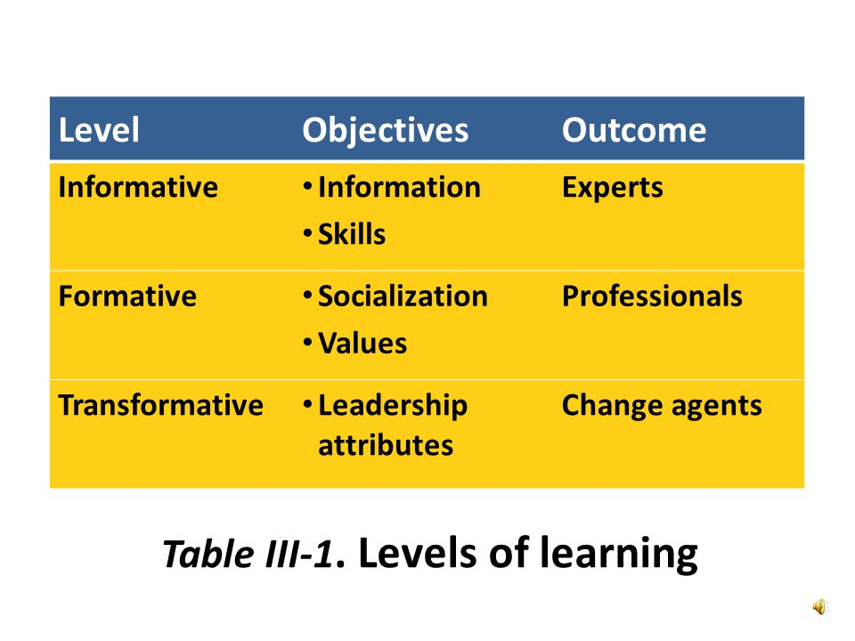 LevelObjectivesOutcome Informative Information Skills Experts Formative Socialization Values Professionals Transformative Leadership attributes Change agents Table III-1.