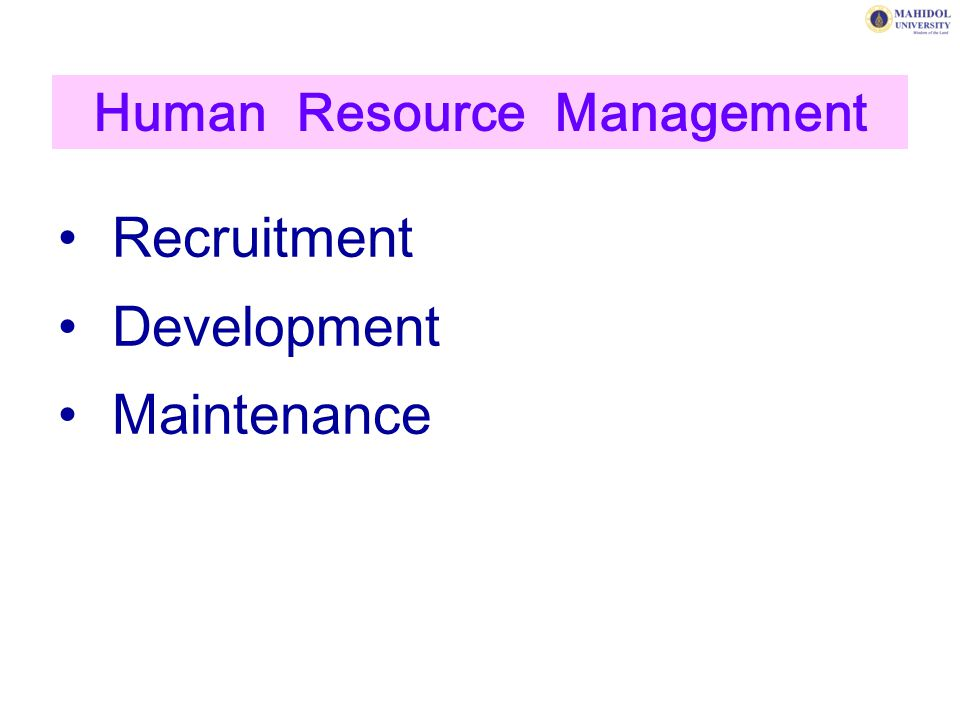 Recruitment Development Maintenance Human Resource Management