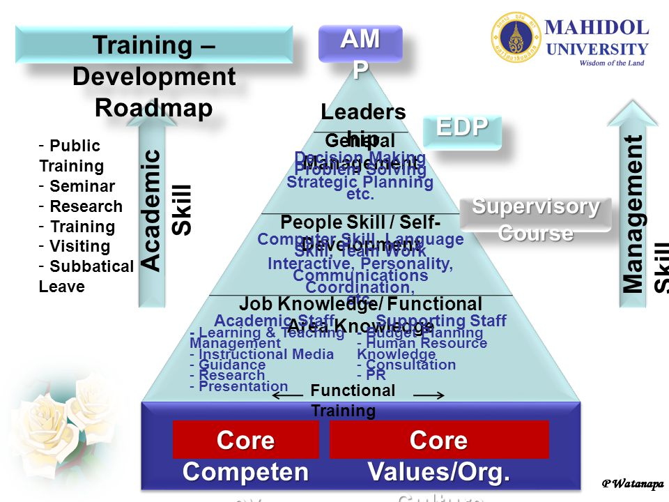P Watanapa Core Compete ncy Core Values/Org. Culture Leader ship General Management Decision Making Problem Solving Strategic Planning etc. People Ski
