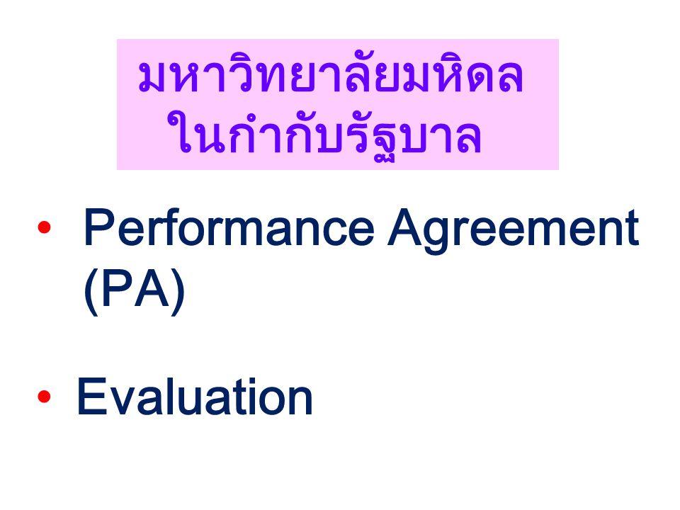 Performance Agreement (PA) Evaluation มหาวิทยาลัยมหิดล ในกำกับรัฐบาล