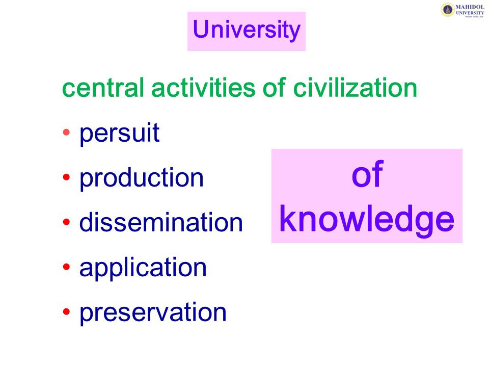central activities of civilization persuit production dissemination application preservation University of knowledge