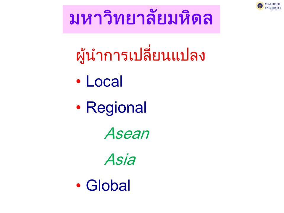 ผู้นำการเปลี่ยนแปลง Local Regional Asean Asia Global มหาวิทยาลัยมหิดล