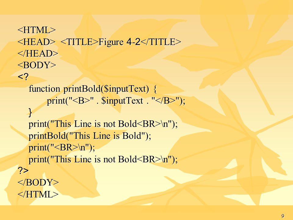 9 <HTML> Figure 4-2 Figure 4-2 </HEAD><BODY><? function printBold($inputText) { print(