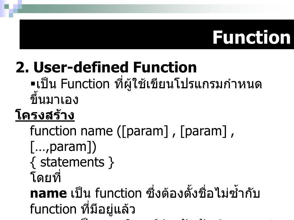 Function 2. User-defined Function  เป็น Function ที่ผู้ใช้เขียนโปรแกรมกำหนด ขึ้นมาเอง โครงสร้าง function name ([param], [param], […,param]) { stateme