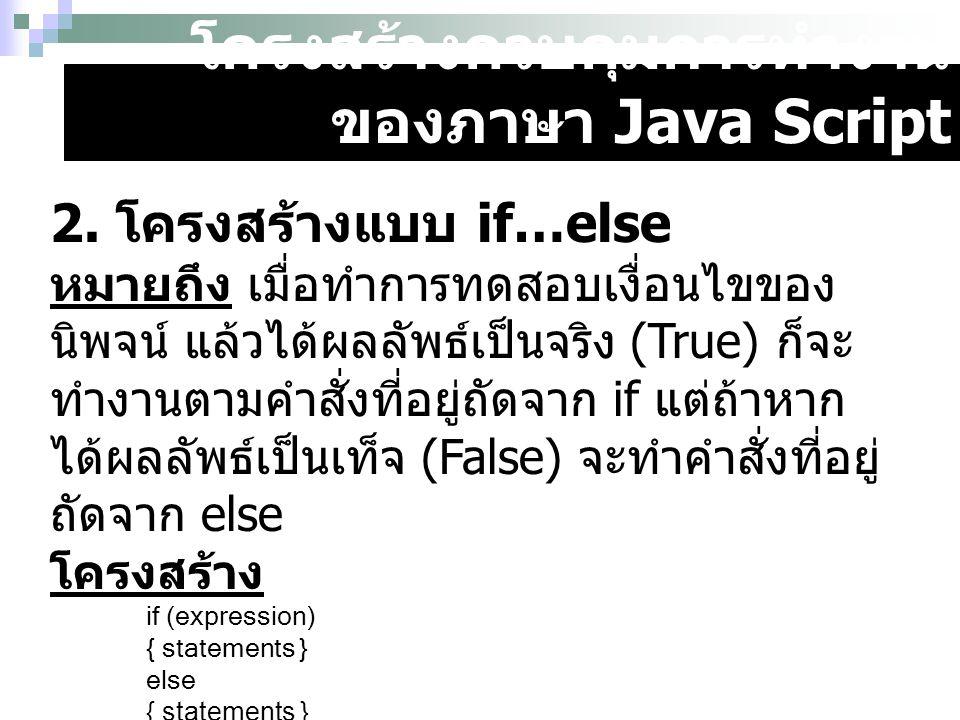 โครงสร้างควบคุมการทำงาน ของภาษา Java Script 2. โครงสร้างแบบ if…else หมายถึง เมื่อทำการทดสอบเงื่อนไขของ นิพจน์ แล้วได้ผลลัพธ์เป็นจริง (True) ก็จะ ทำงาน