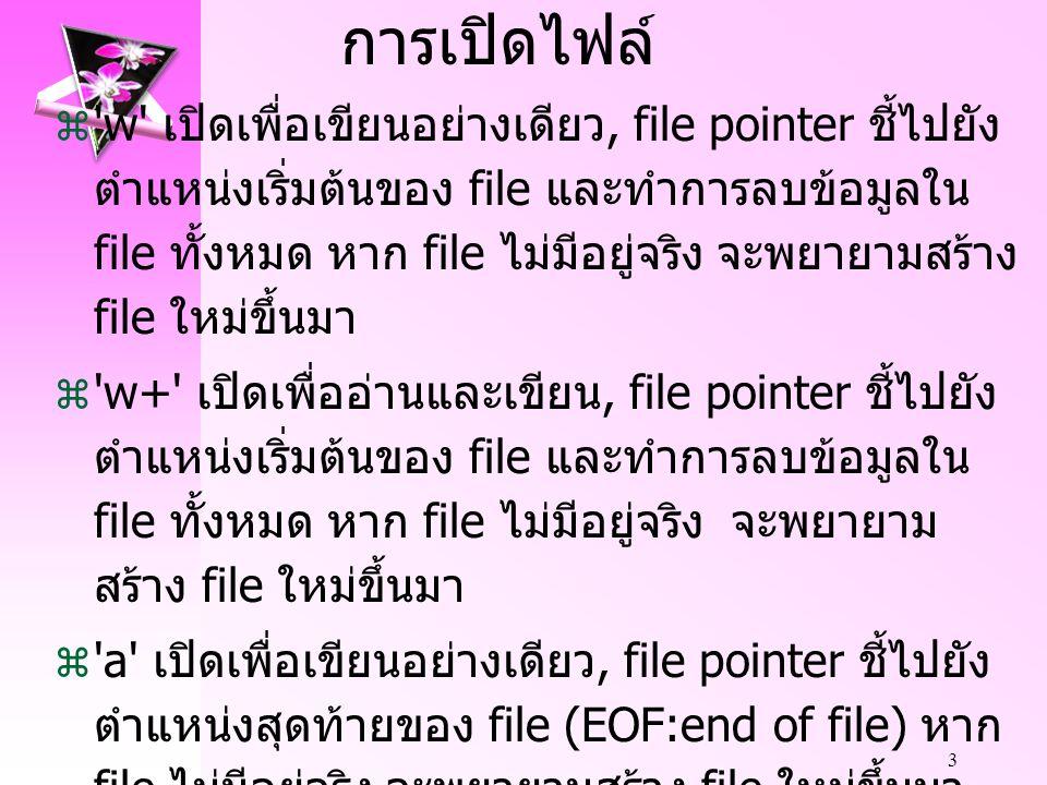 3 การเปิดไฟล์  w เปิดเพื่อเขียนอย่างเดียว, file pointer ชี้ไปยัง ตำแหน่งเริ่มต้นของ file และทำการลบข้อมูลใน file ทั้งหมด หาก file ไม่มีอยู่จริง จะพยายามสร้าง file ใหม่ขึ้นมา  w+ เปิดเพื่ออ่านและเขียน, file pointer ชี้ไปยัง ตำแหน่งเริ่มต้นของ file และทำการลบข้อมูลใน file ทั้งหมด หาก file ไม่มีอยู่จริง จะพยายาม สร้าง file ใหม่ขึ้นมา  a เปิดเพื่อเขียนอย่างเดียว, file pointer ชี้ไปยัง ตำแหน่งสุดท้ายของ file (EOF:end of file) หาก file ไม่มีอยู่จริง จะพยายามสร้าง file ใหม่ขึ้นมา  a+ เปิดเพื่ออ่านและเขียน, file pointer ชี้ไปยัง ตำแหน่งสุดท้ายของ file (EOF:end of file) หาก file ใหม่ขึ้นมา