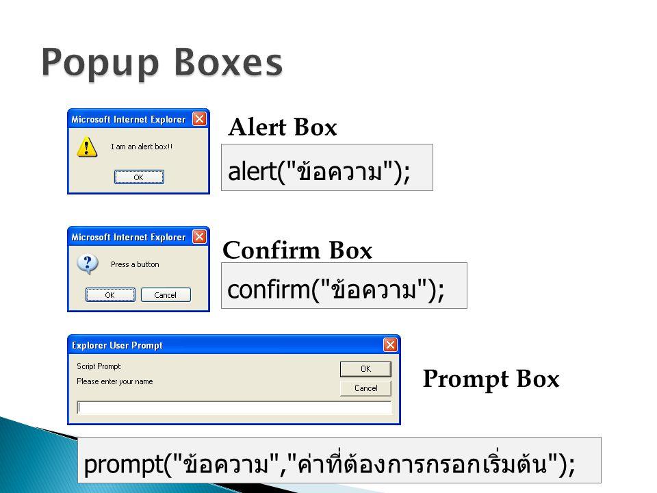 Alert Box Confirm Box Prompt Box alert(