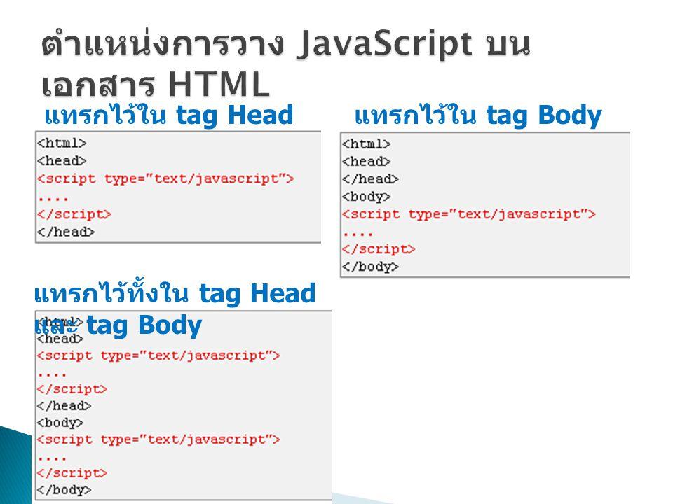แทรกไว้ใน tag Head แทรกไว้ใน tag Body แทรกไว้ทั้งใน tag Head และ tag Body