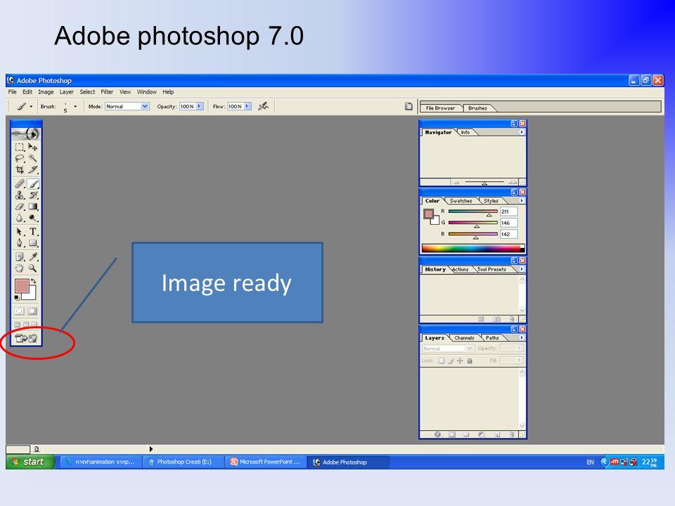 เมื่อตกแต่งภาพเสร็จและได้รูปที่ต้องการแล้วให้ เลือก image ready เพื่อจัดทำ flame