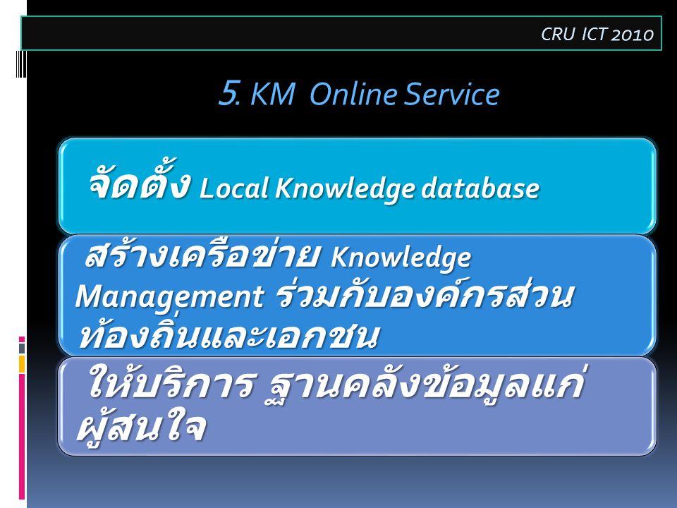 จัดตั้ง Local Knowledge database สร้างเครือข่าย Knowledge Management ร่วมกับองค์กรส่วน ท้องถิ่นและเอกชน สร้างเครือข่าย Knowledge Management ร่วมกับองค