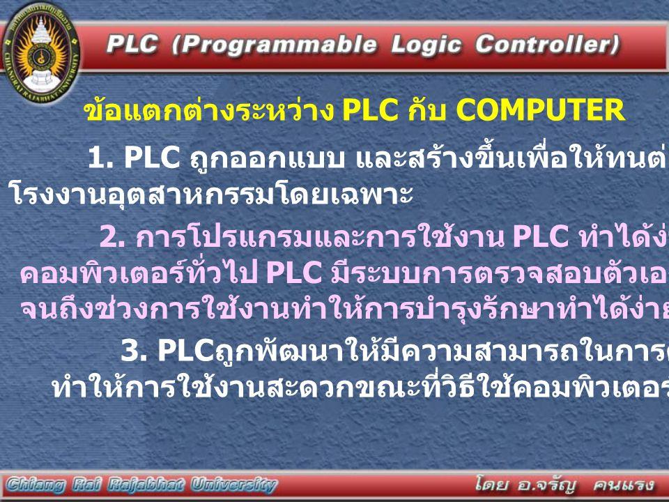 ข้อแตกต่างระหว่าง PLC กับ COMPUTER 1. PLC ถูกออกแบบ และสร้างขึ้นเพื่อให้ทนต่อสภาพแวดล้อมใน โรงงานอุตสาหกรรมโดยเฉพาะ 2. การโปรแกรมและการใช้งาน PLC ทำได