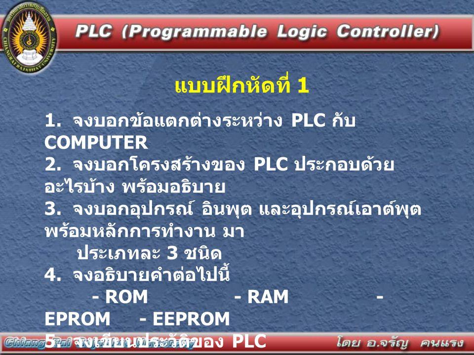 แบบฝึกหัดที่ 1 1. จงบอกข้อแตกต่างระหว่าง PLC กับ COMPUTER 2. จงบอกโครงสร้างของ PLC ประกอบด้วย อะไรบ้าง พร้อมอธิบาย 3. จงบอกอุปกรณ์ อินพุต และอุปกรณ์เอ