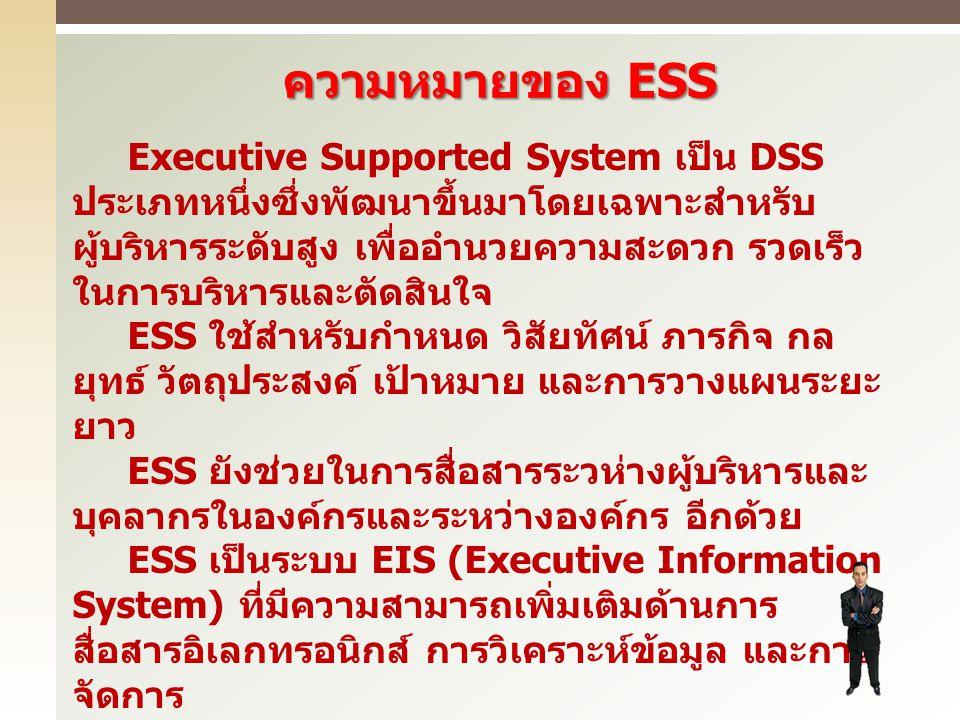 ความหมายของ ESS Executive Supported System เป็น DSS ประเภทหนึ่งซึ่งพัฒนาขึ้นมาโดยเฉพาะสำหรับ ผู้บริหารระดับสูง เพื่ออำนวยความสะดวก รวดเร็ว ในการบริหาร