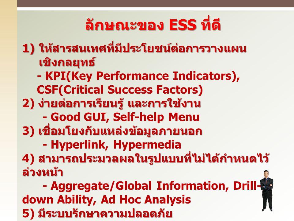 ลักษณะของ ESS ที่ดี 1) ให้สารสนเทศที่มีประโยชน์ต่อการวางแผน เชิงกลยุทธ์ - KPI(Key Performance Indicators), CSF(Critical Success Factors) ง่ายต่อการเรี
