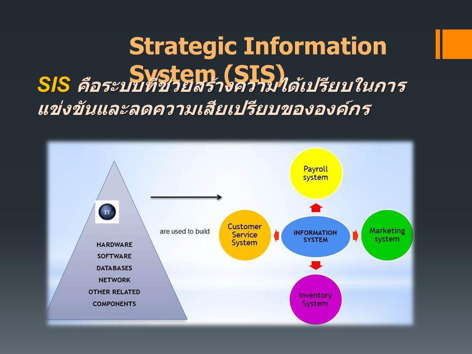 Strategic Information System (SIS) SIS คือระบบที่ช่วยสร้างความได้เปรียบในการ แข่งขันและลดความเสียเปรียบขององค์กร