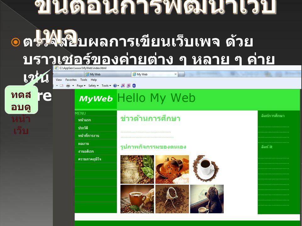  ตรวจสอบผลการเขียนเว็บเพจ ด้วย บราวเซอร์ของค่ายต่าง ๆ หลาย ๆ ค่าย เช่น Internet Explorer, Mozilla FireFox ทดส อบดู หน้า เว็บ