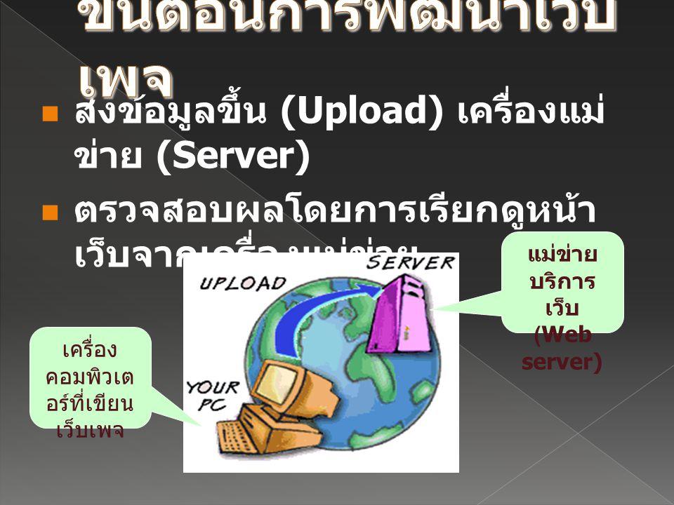 ส่งข้อมูลขึ้น (Upload) เครื่องแม่ ข่าย (Server) ตรวจสอบผลโดยการเรียกดูหน้า เว็บจากเครื่องแม่ข่าย เครื่อง คอมพิวเต อร์ที่เขียน เว็บเพจ แม่ข่าย บริการ เ