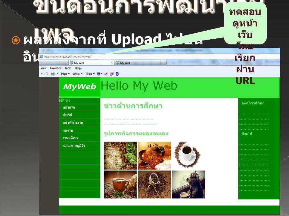  ผลหลังจากที่ Upload ไปบน อินเทอร์เน็ตแล้ว ทดสอบ ดูหน้า เว็บ โดย เรียก ผ่าน URL